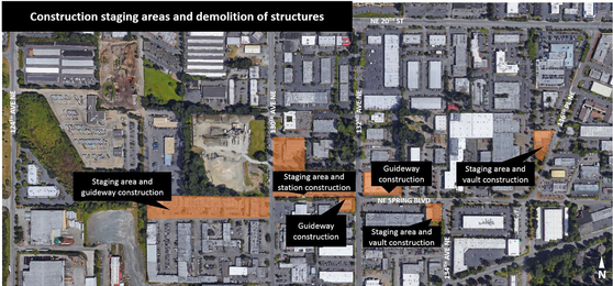 Map of Bellevue/Redmond building demolition May 2017