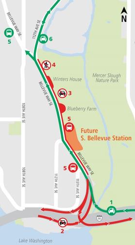 Map of Bellevue Way Southeast lane closures 6/14/2017