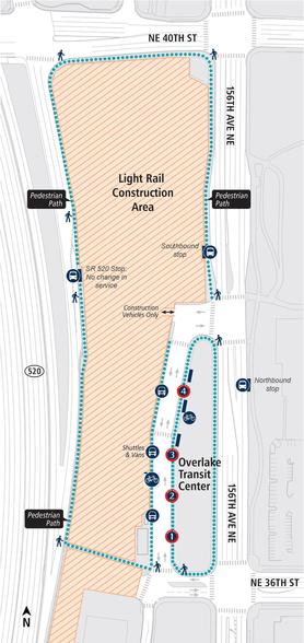 Overlake Transit Center changes map.