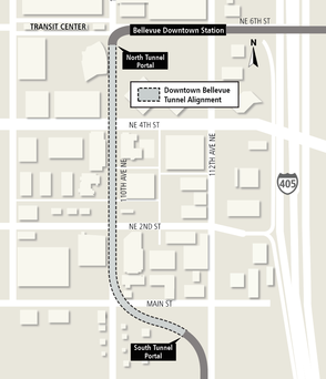 Map of Link light rail tunnel alignment under downtown Bellevue. 09/19/2017