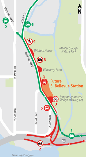 Graphic: Map of traffic impacts along Bellevue Way Southeast. 10/4/2017