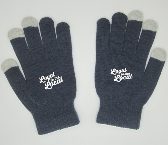 Pair of navy blue mittens with Loyal to the Locals logo printed on top.