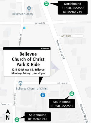 Map of new park-and-ride option at Bellevue Church of Christ. 12/28/2017