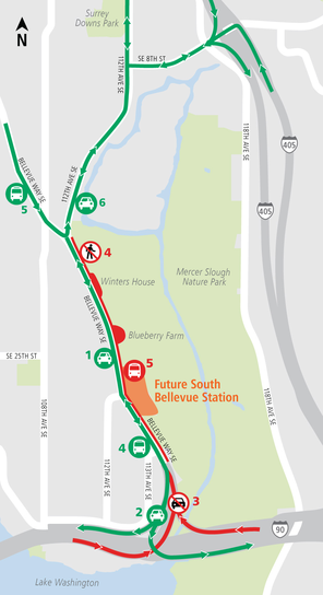 Northbound ramp closure map for Bellevue Way Southeast