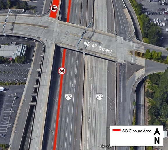 Map of night I-405 Closure March 12-15