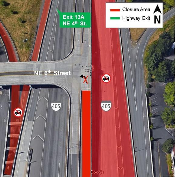 I-405 lane and ramp closure map. 4/9/2018