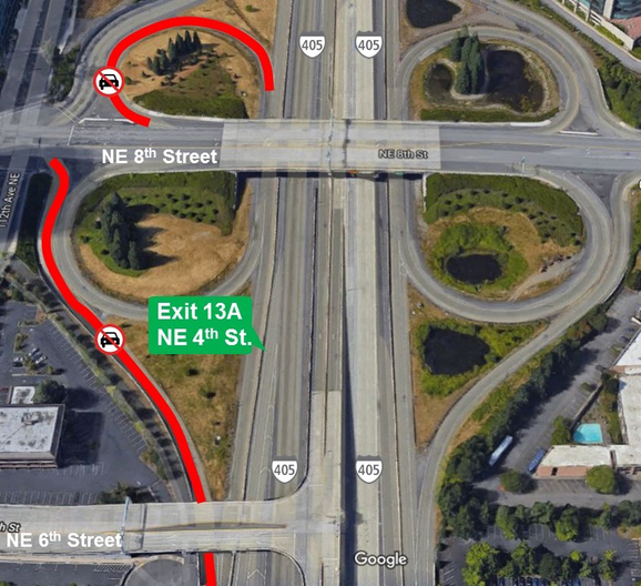 Map of I-405 ramp closures in downtown Bellevue. 4/12/2018