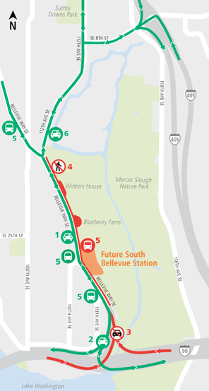 Map of ramp closures off I-90 to Bellevue Way Southeast. 4/13/2018