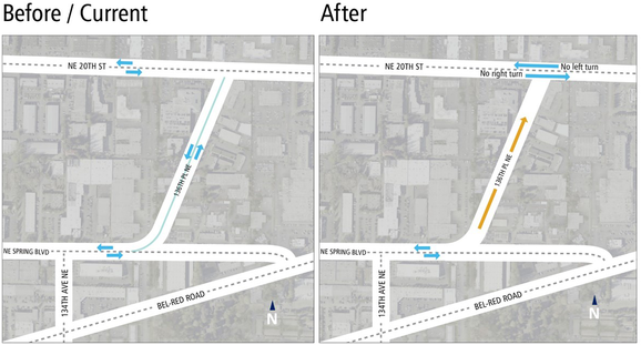 Map of traffic changes on 136th Place Northeast.