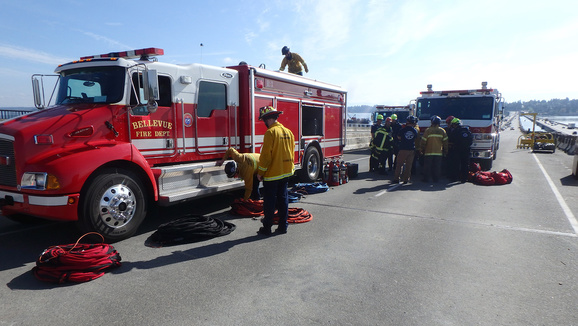 City of Bellevue Fire Department practices rescue drills on the floating bridge.