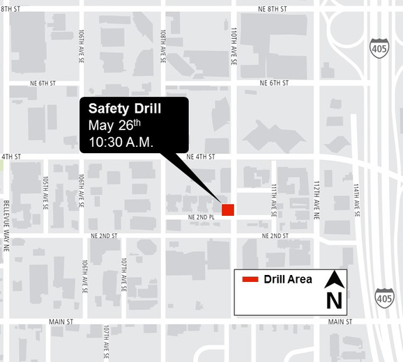 Map of Bellevue fire drill activity.