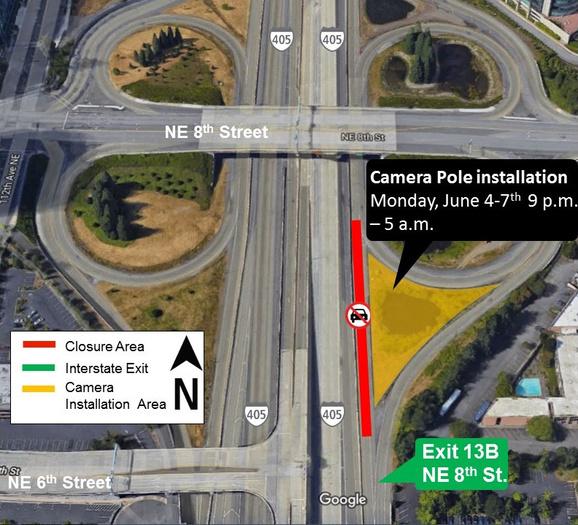 Map of lane closure on I-405.