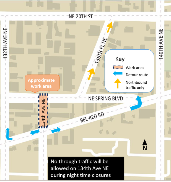 Map of 134th Avenue Northeast closure in BelRed.