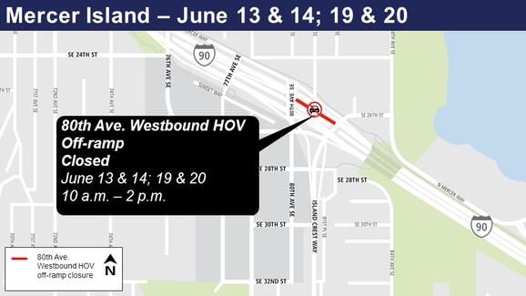 Mercer Island westbound HOV ramp closure.