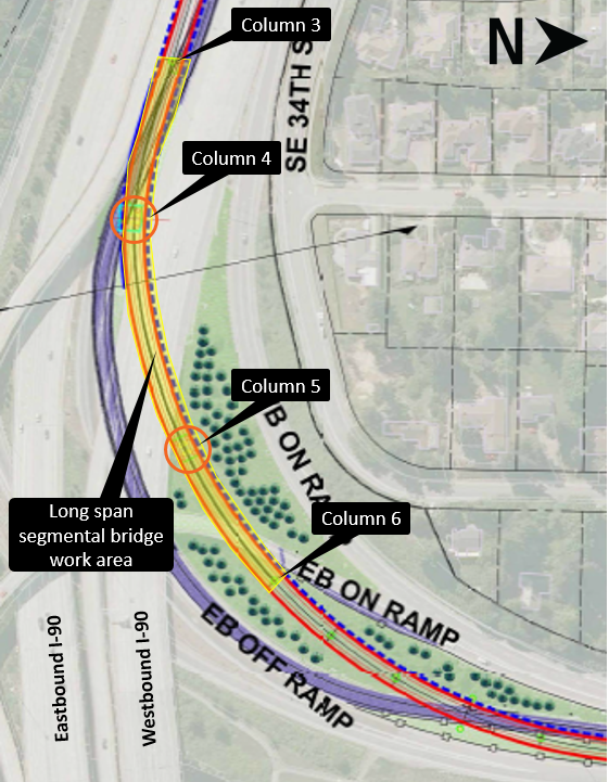 Construction area map for long span aerial guideway.