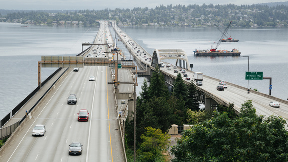Aerial of the I-90 floating bridge.