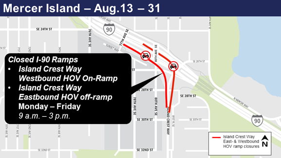 Map of Island Crest Way eastbound and westbound ramp closures.