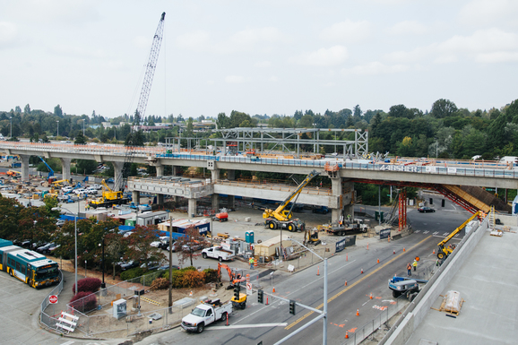 Aerial view of the Northgate Station elevated guideway looking southwest.
