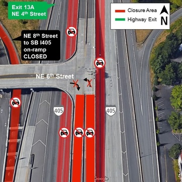 Night closures on I-405 in Bellevue on Oct 17th