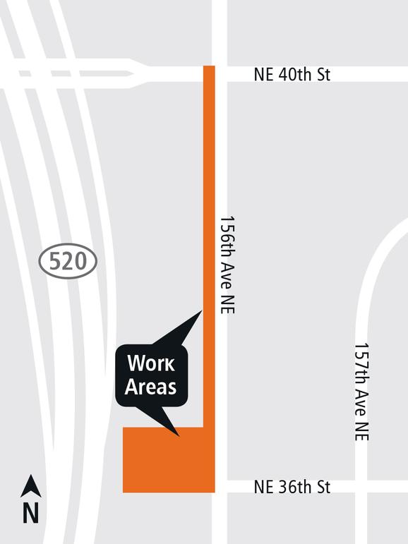 East Link Redmond Technology Station 156th Avenue Northeast map.