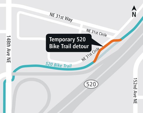 East Link Overlake Village Station bike detour map.