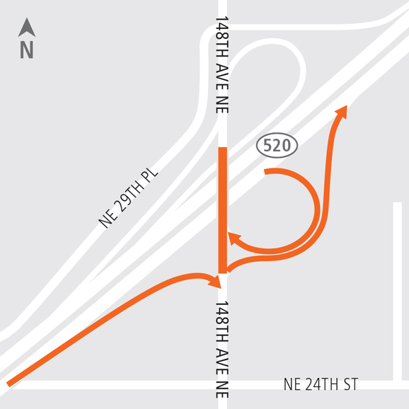 East Link 148th Avenue Northeast closure map.