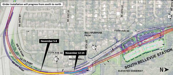 South Bellevue girder installation map.