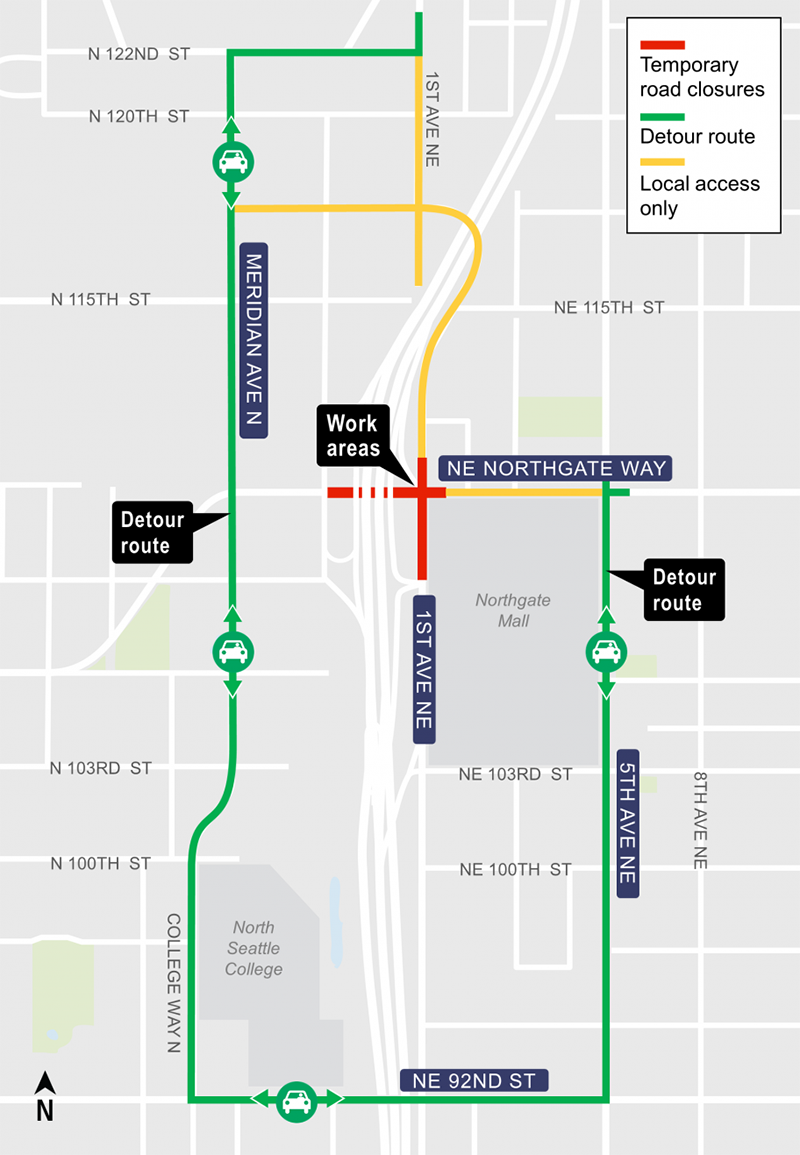 Construction map for 1st Avenue Northeast and Northeast Northgate way intersection closure, Lynnwood Link Extension