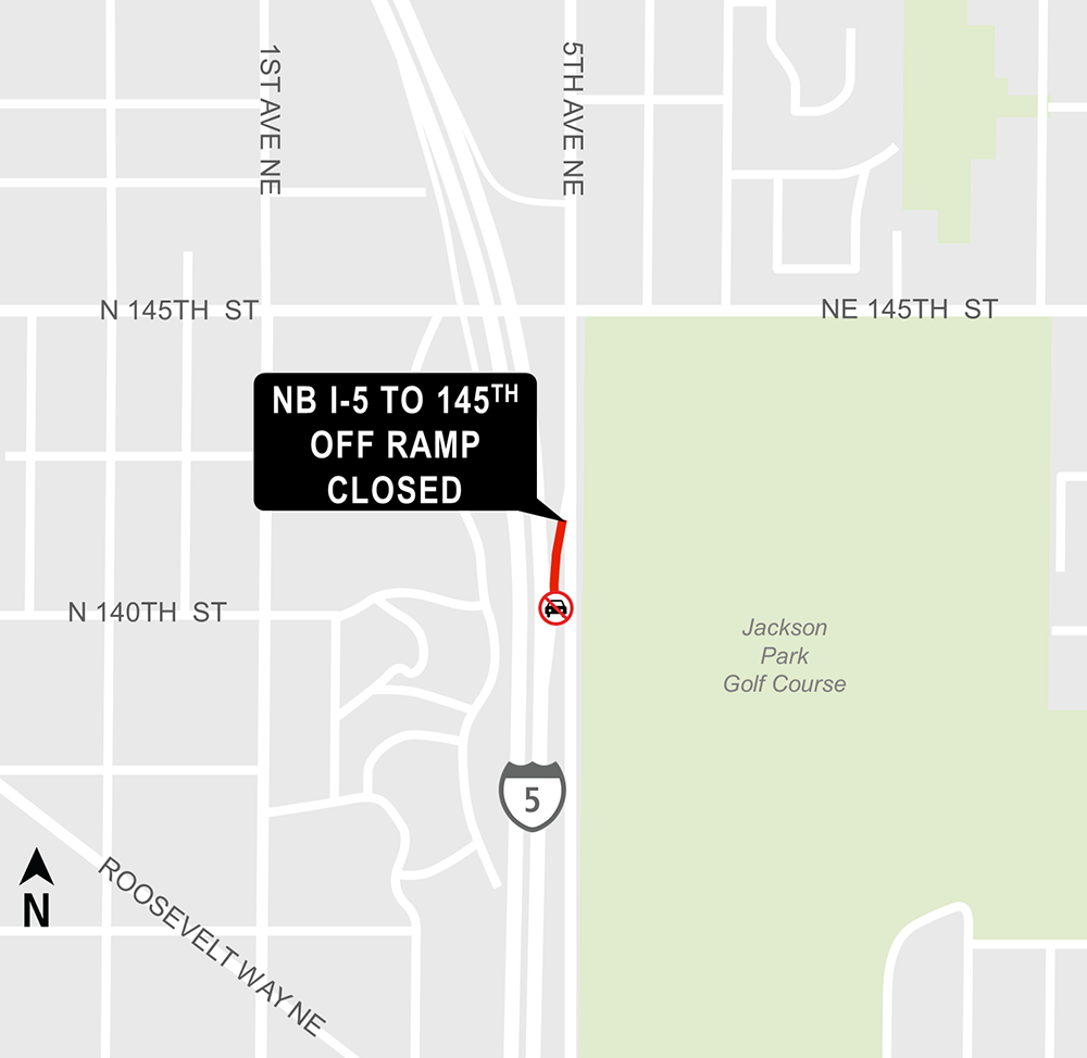 Construction map for Northeast 145th Street off-ramp closure, Lynnwood Link Extension