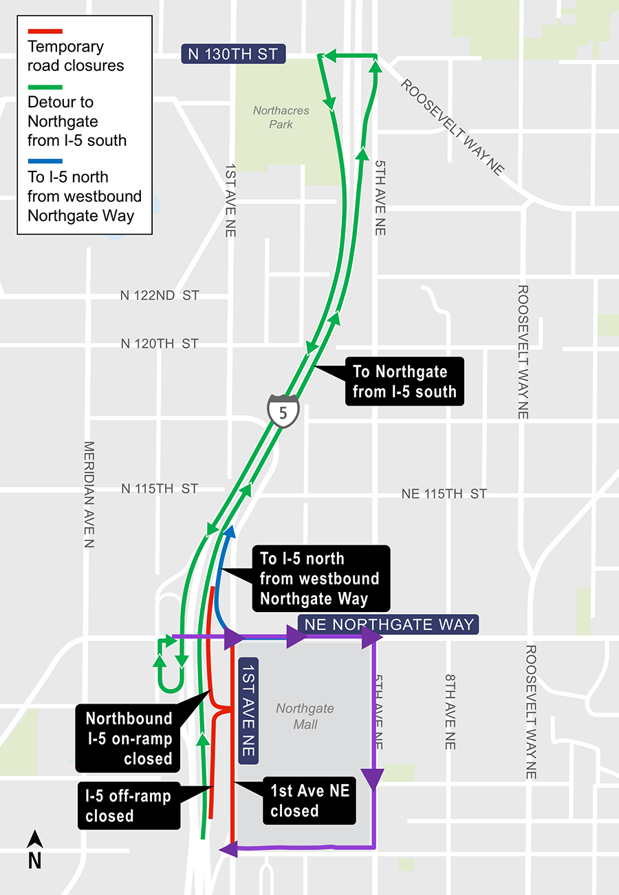 Construction map for night closures at 1st Ave NE between Northgate Way and NE 103rd Street; NE 107th ramp closures, Lynnwood Link Extension