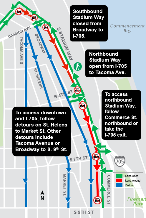 Construction map for Stadium Way Closure, Hilltop Tacoma Link Extension