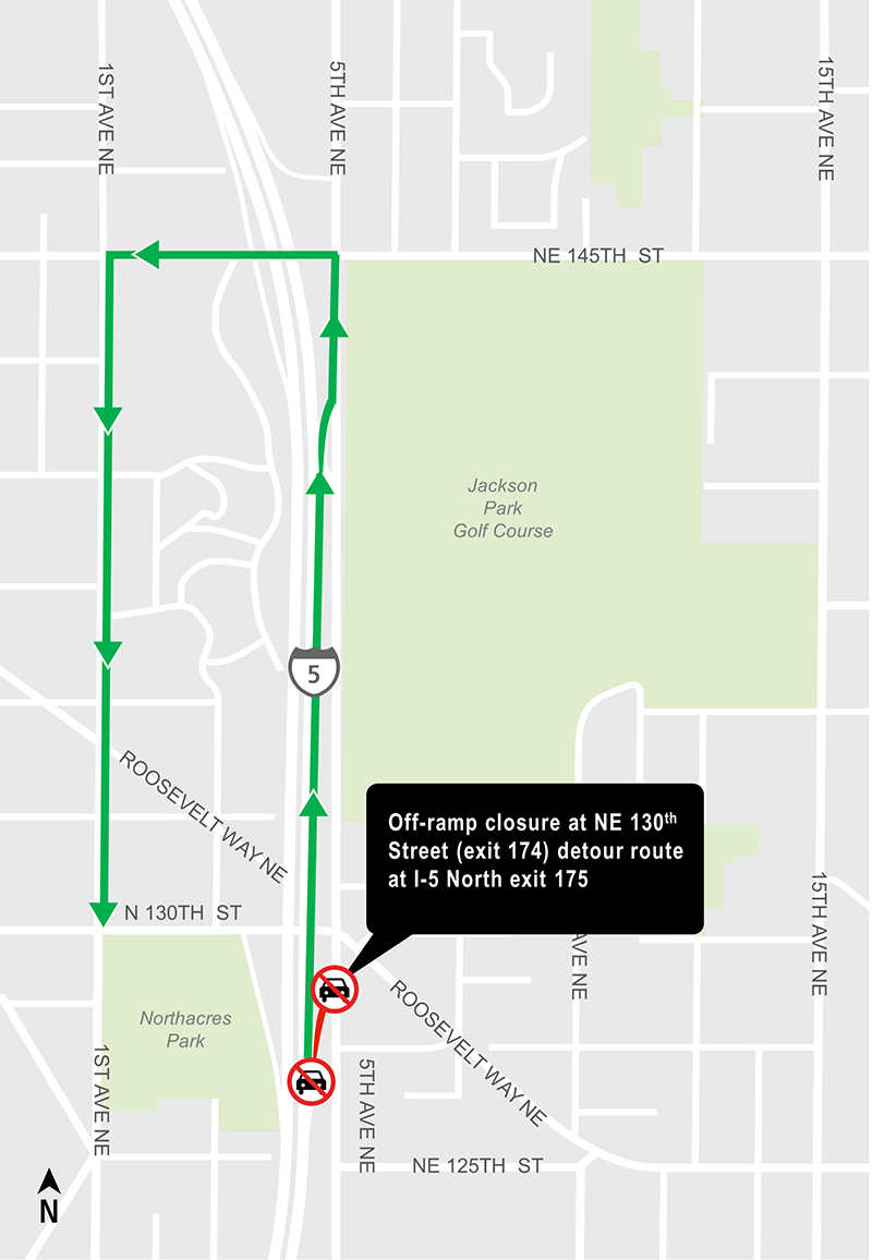 Construction map for NE 130th Street off-ramp closure, Lynnwood Link Extension