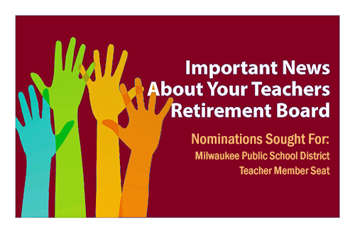 "Graphic of hands and the words ""Important New About Your Teachers Retirement Board"""