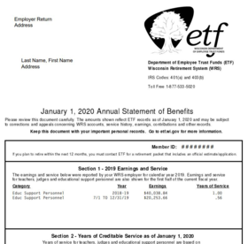 Sample of Annual Statement of Benefits (2020)