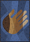 Stained glass image of brown, black and white hands with blue tiles