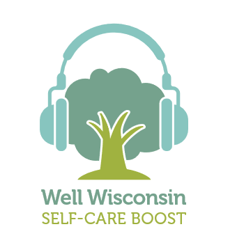 Well Wisconsin Self-care Boost logo (tree with headphones)