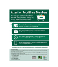 Additional FoodShare Benefits for September Flyer