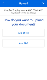 Choose an upload option screen