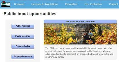 WDNR Public Input Opportunities
