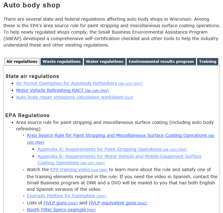 auto body shop page