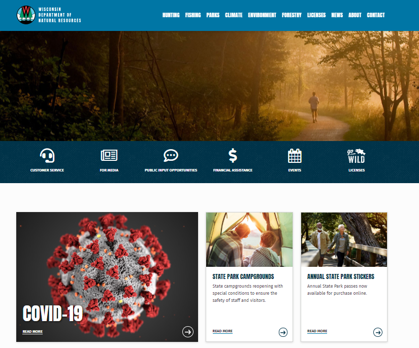 A screen capture of the DNR's new website.