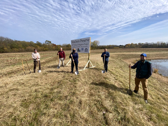 DNR, Root Pike WIN, Village of Mount Pleasant, and Racine County officials participate in a groundbreaking event for the Meachem Road wetland mitigation project in Mount Pleasant