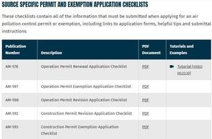 Air Permit Checklists