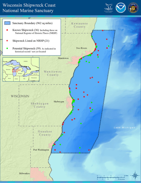 Map of boundaries for Wisconsin Shipwreck Coast National Marine Sanctuary