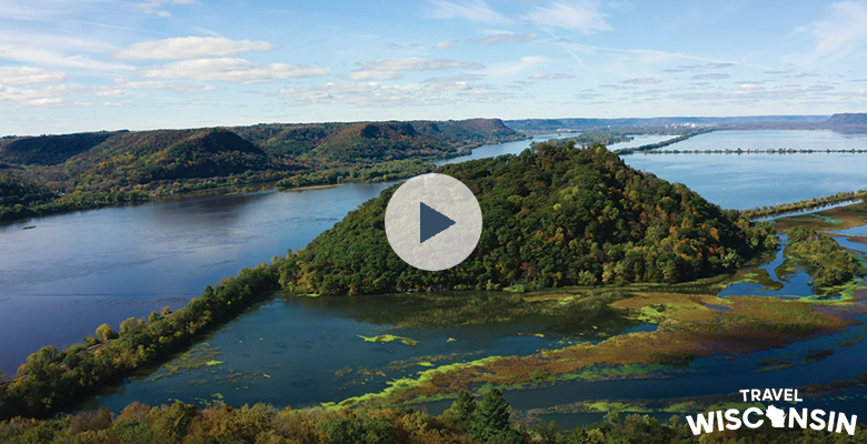 Aerial view of fall color on the Wisconsin River at Perrot State Park