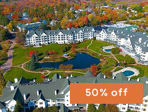 Aerial view of The Osthoff Resort during fall