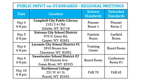 Public Input Mtg. Schedule May 2016