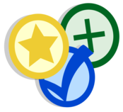 icon of star, check mark, and plus sign