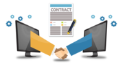 contract with people shaking hands