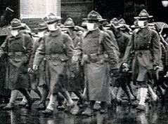 Soldier marching with facial medical masks